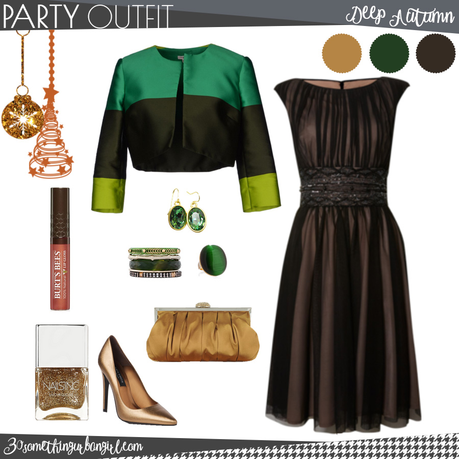 Chic Christmas party outfit for Deep Autumn seasonal color women