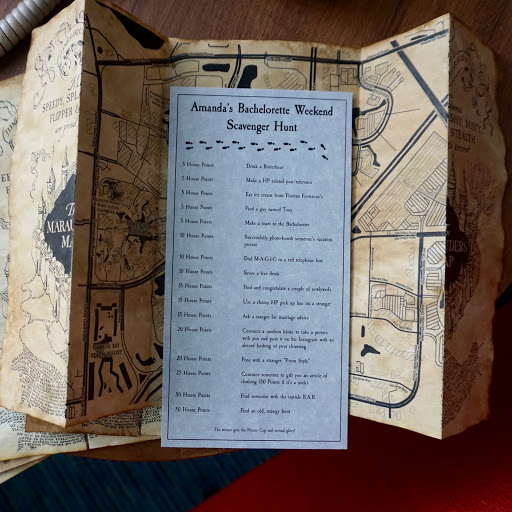 harry potter themed bachelorette party universal studios wizarding world of harry potter custom marauders map scavenger hunt
