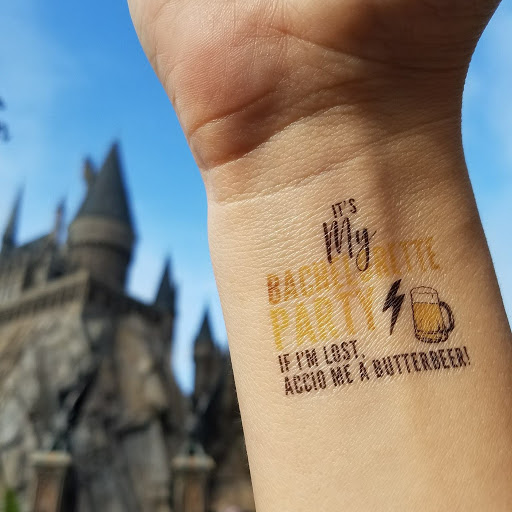 harry potter themed bachelorette party universal studios wizarding world of harry potter bridal party tattoo