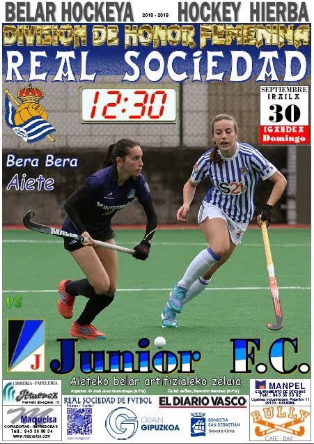 Cartel hockey 2018-09-30 Real Sociedad - Junior F.C.