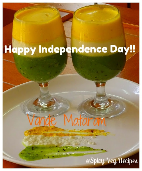 The recipe is prepared using mainly three ingredients. It has a kiwi jelly for the green, Panna Cotta for the white and a saffron mousse for the saffron. Tricolor Parfait for the Independence day-15 August  Festivals N Occasions, Desserts |Sweets | Mithai Recipes, veg recipes, Kids Recipes, Easy Recipes, fuision,
