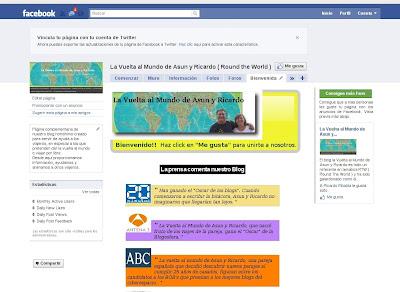 Pagina bienvenida facebook,vuelta al mundo, round the world, La vuelta al mundo de Asun y Ricardo, mundoporlibre.com