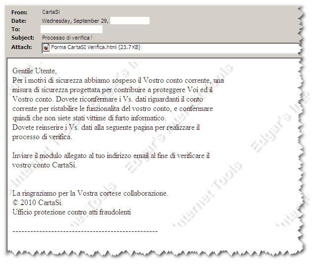 Ufficio Archivi Cartasi.Edgar S Internet Tools Phishing Cartasi 29 Settembre