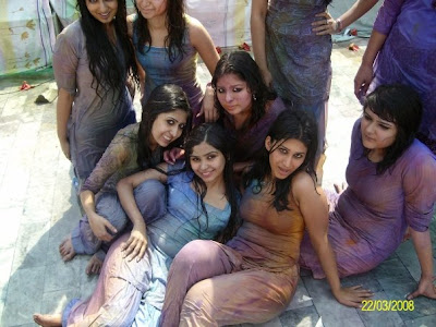 girls playing holi