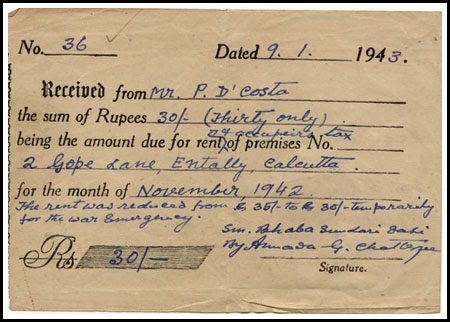Flirting With The Past: A House Rent Receipt Speaks History  Home Rent Receipt