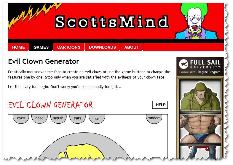 Uncle Ersatz' Digital Ephemera: Evil Clown Generator from Scottsmind