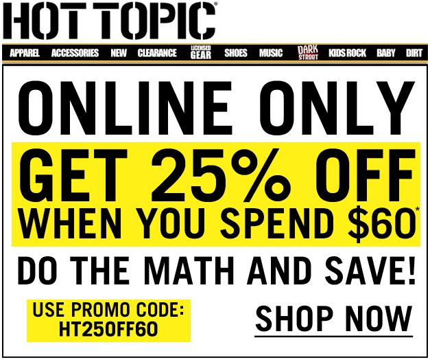picture relating to Hot Topic Printable Coupons called Incredibly hot subject matter coupon codes 2018 : Sat prep discount codes
