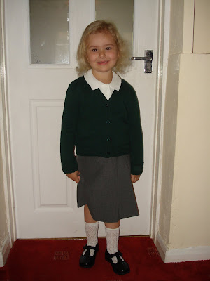 Top Ender in her School Uniform on her First Day of School in 2008