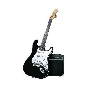top guitars fender starcaster strat pack electric guitar with amp and accessories black. Black Bedroom Furniture Sets. Home Design Ideas