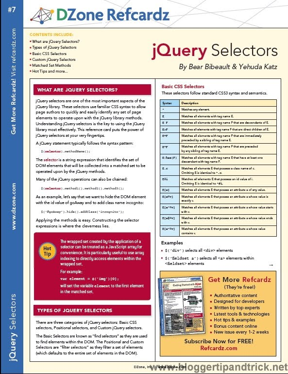 Most Wanted 15 jQuery Cheat Sheets for Web Developers ...