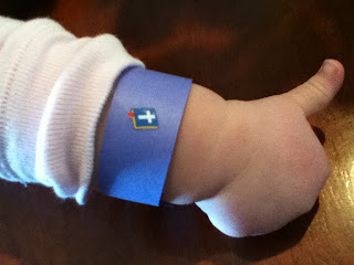 toddler wearing a blue bracelet to remember to God' commands in this toddler devotion about obeying God