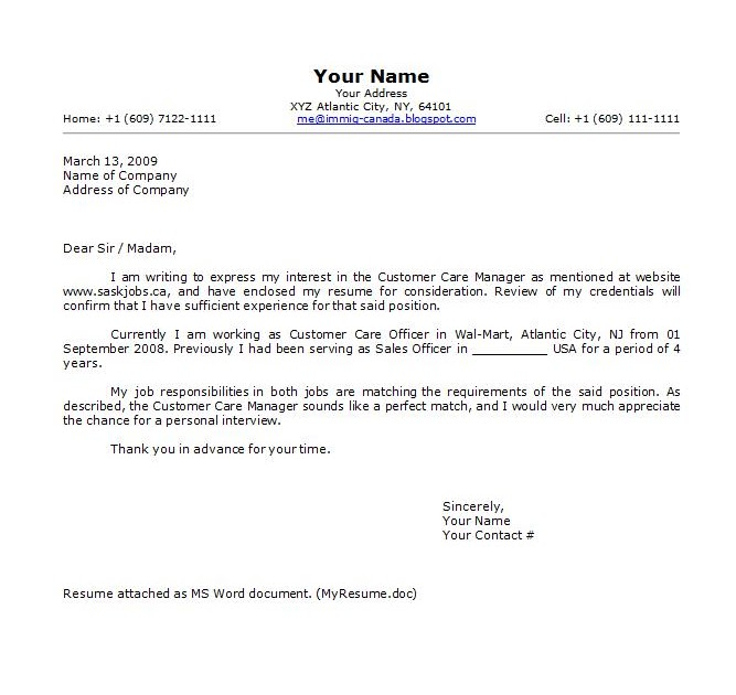 Cover letter for Canada Job  Immigration To Canada