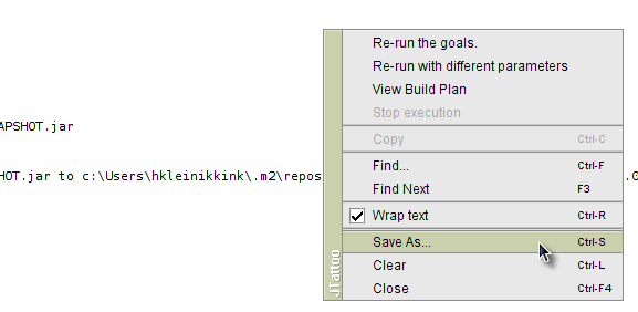 Save the contents of the output window in NetBeans