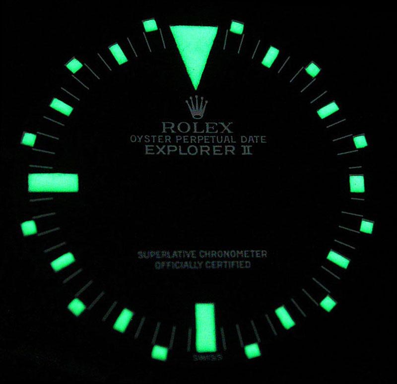 Rolex Lume Shot of the Day: Explorer II Mark II Dial Lume.