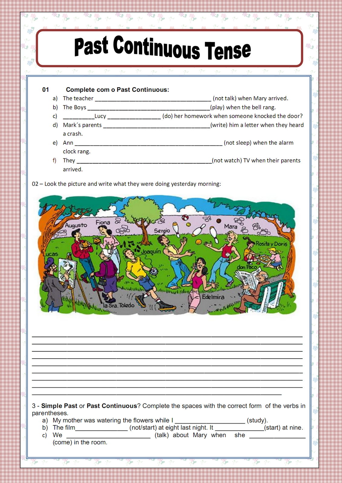 Past Continuous Tense Worksheets