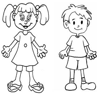 my body coloring book pages   clube do saber: Pinte o que representa se você é menino ou ...