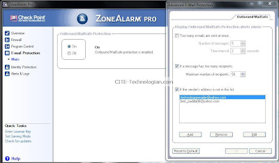ZoneAlarm Pro Firewall Outbound MailSafe