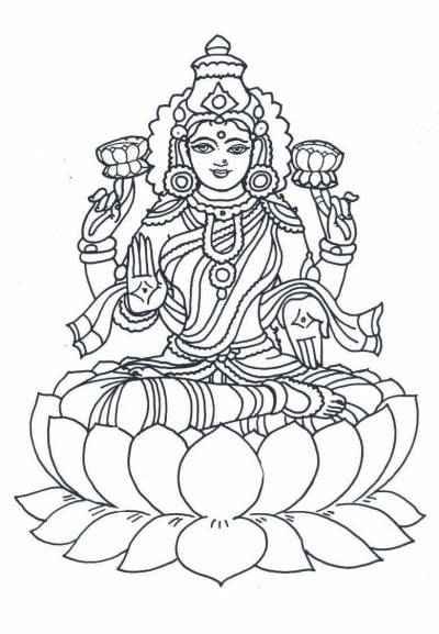Diwali Coloring Pages: Lakshmi Coloring Pages, Maa Lakshmi