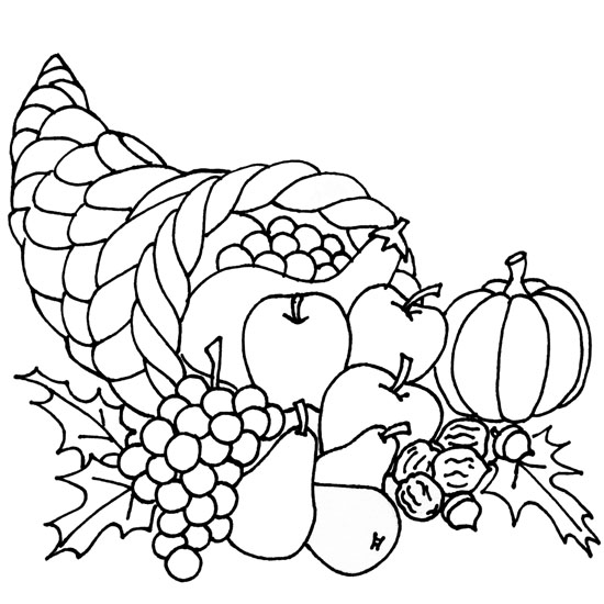 turkey and cornucopia coloring pages | Thanksgiving Coloring Pages: Thanksgiving Cornucopia ...