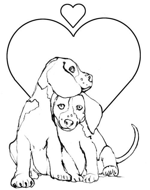 Valentines Day Coloring Pages: Puppy Valentine Coloring ...