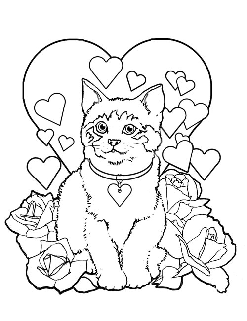 free printable valentines day coloring pages - cat valentine coloring pages valentine day cats printable