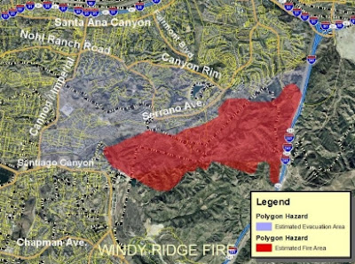 Santa Ana Fire Map.Cfn California Fire News Cal Fire News Windy Ridge Fire