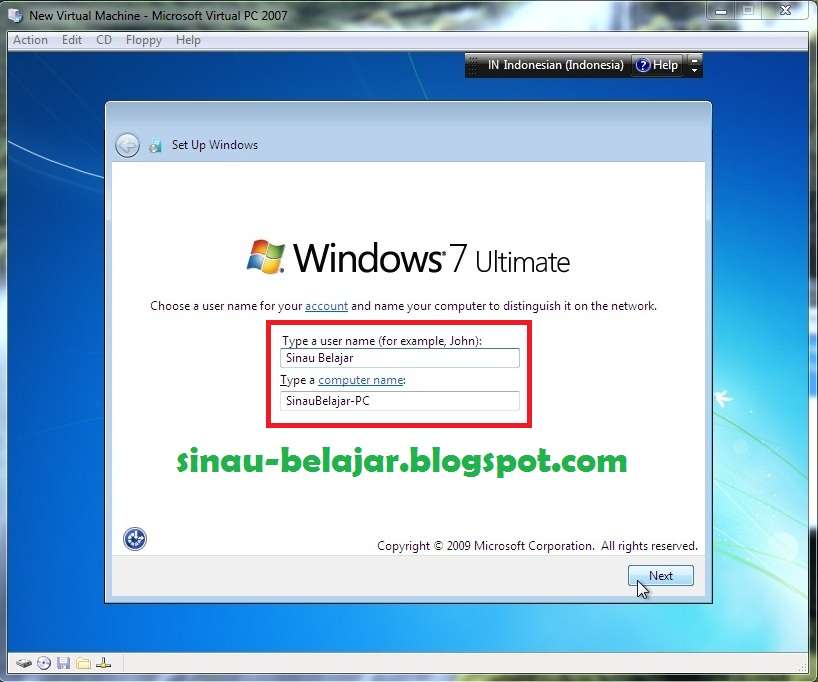 Sinau-Belajar: Instal Windows 7 via Virtual PC 2007 | Pakar SEO Webmaster Pun Masih Terus Belajar