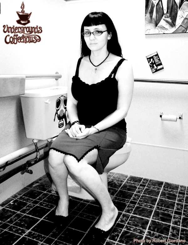 Laura in the bathroom at Undergrounds Coffeehaus