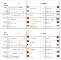 date rencontre coupe monde 2010