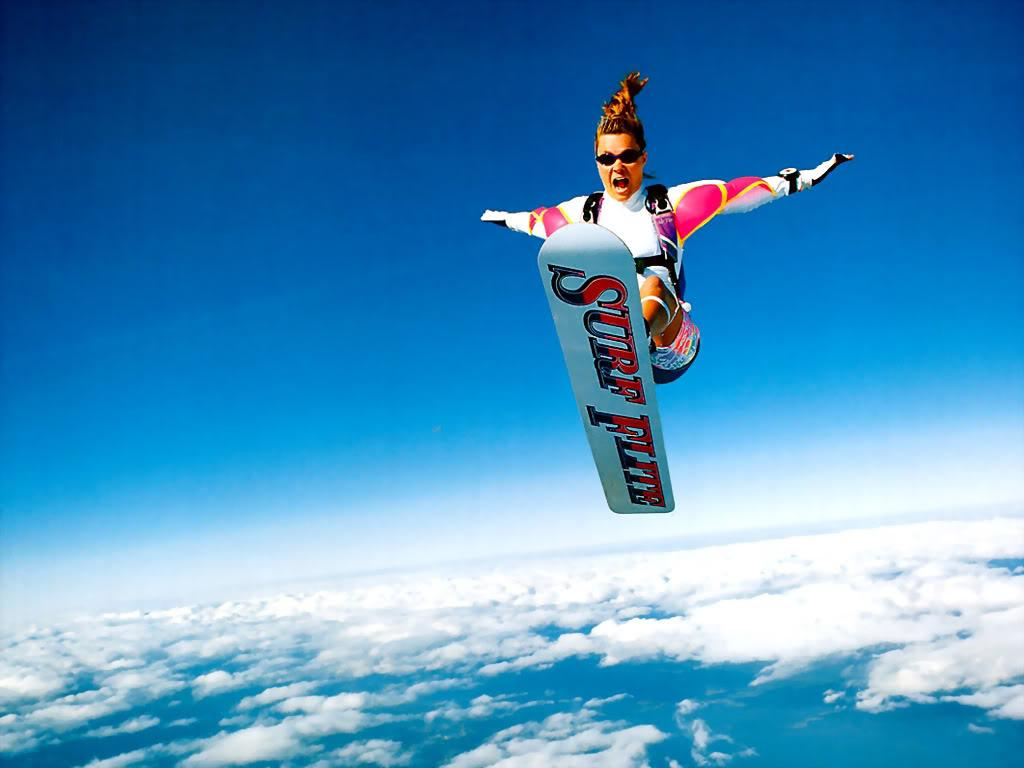 extreme sports sporty skydiving nice snowboarding sky