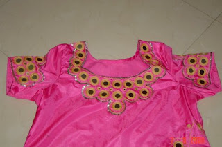 08002ed2df I made this dress for my neice.Just a simple mirror wortk with chain stitch  edging and sequin border.The colour looks dark in the photo but otherwise  it ...