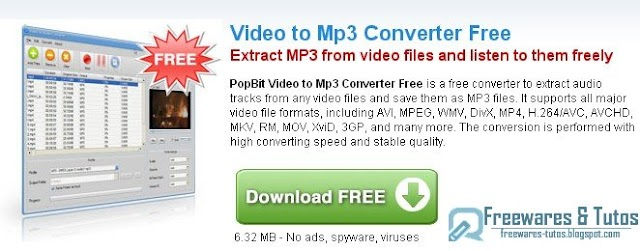 PopBit Video to MP3 Converter Free : un logiciel d'extraction des parties audio des vidéos