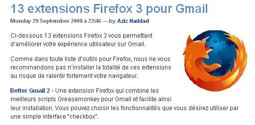 Collection  d'extensions Firefox 3 pour Gmail