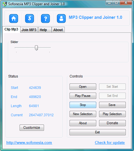 Sofonesia MP3 Clipper and Joiner : couper et joindre des MP3
