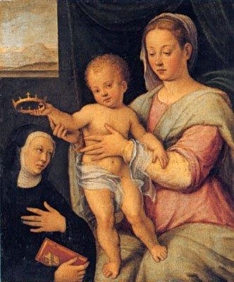 Vierge à l'Enfant Jésus couronnant une religieuse (1590-95), Barbara Longhi