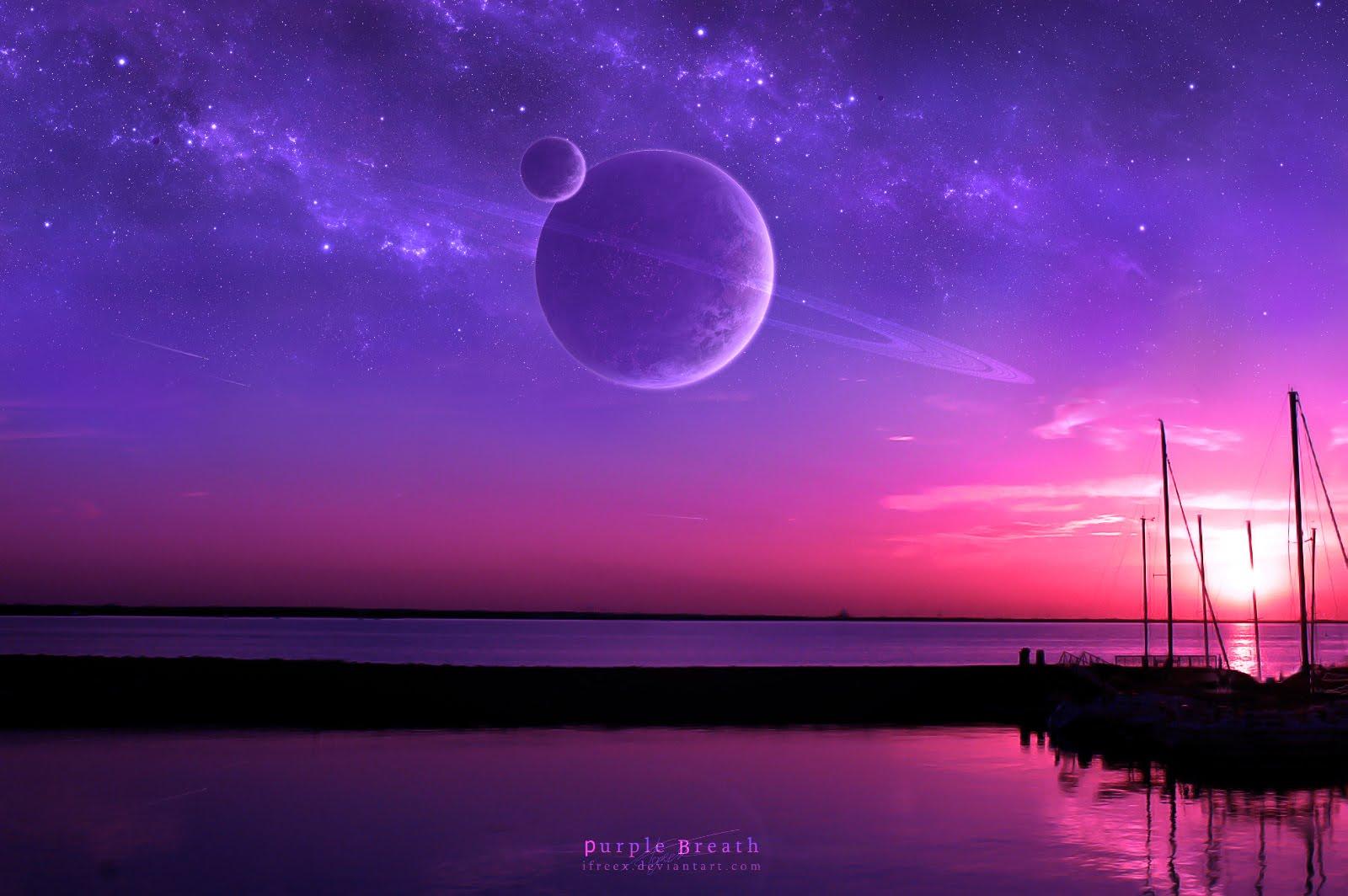 Starry Night Mariacandelaria Purple Sunset
