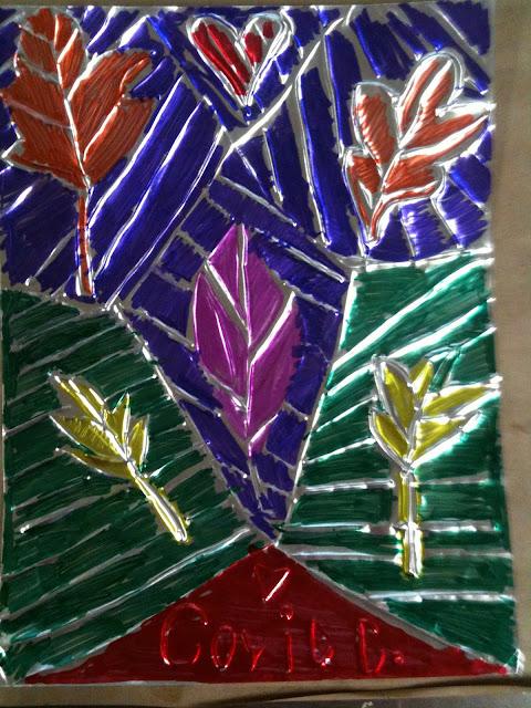 repujado sobre aluminio hojas del otoño