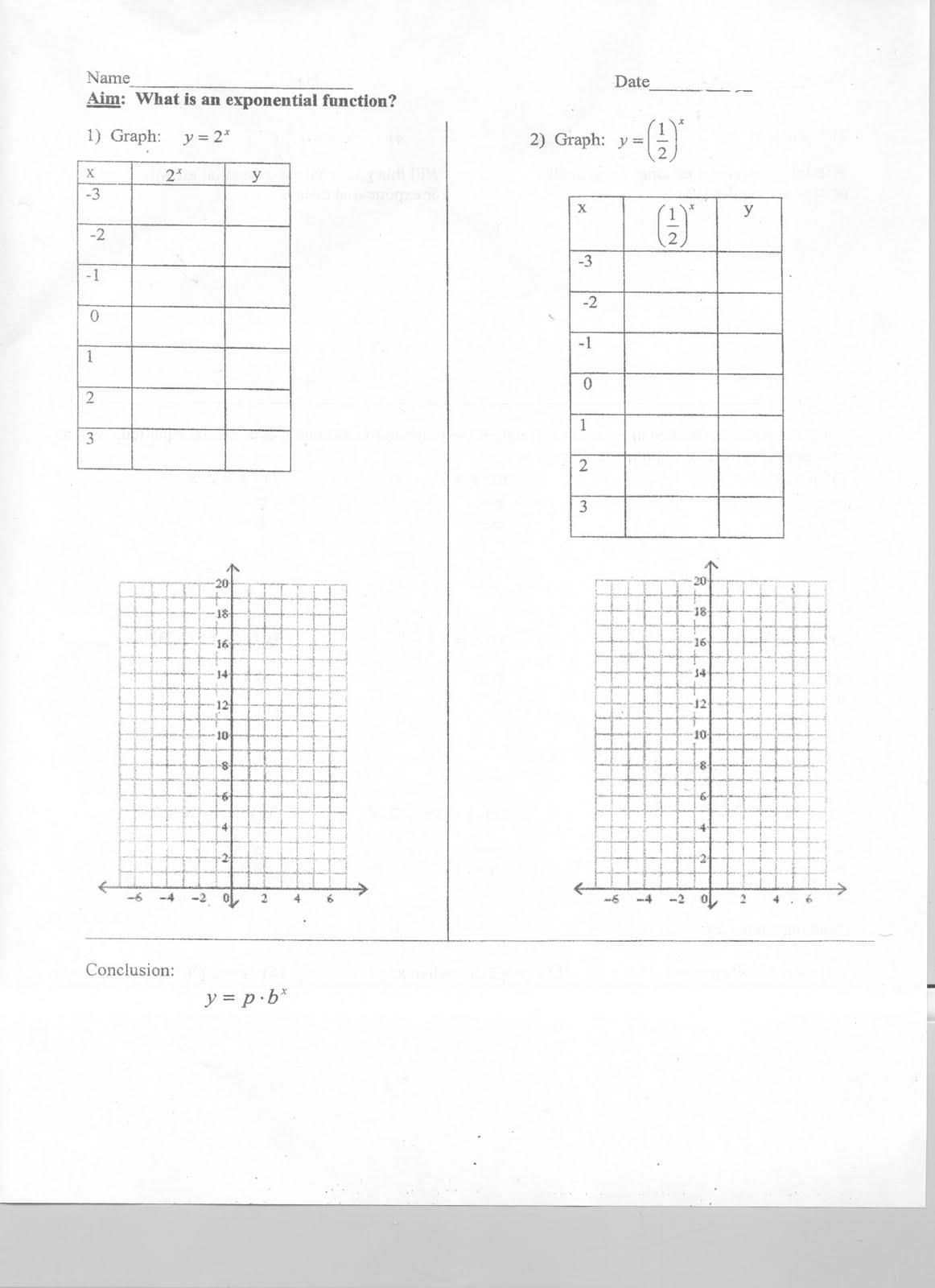 Mr Napoli S Algebra Aim How Do We Graph Exponential