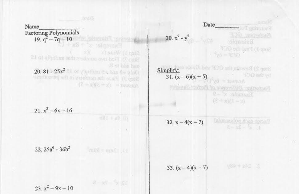 Mr. Napoli's Algebra: Aim:Practice Factoring Polynomials