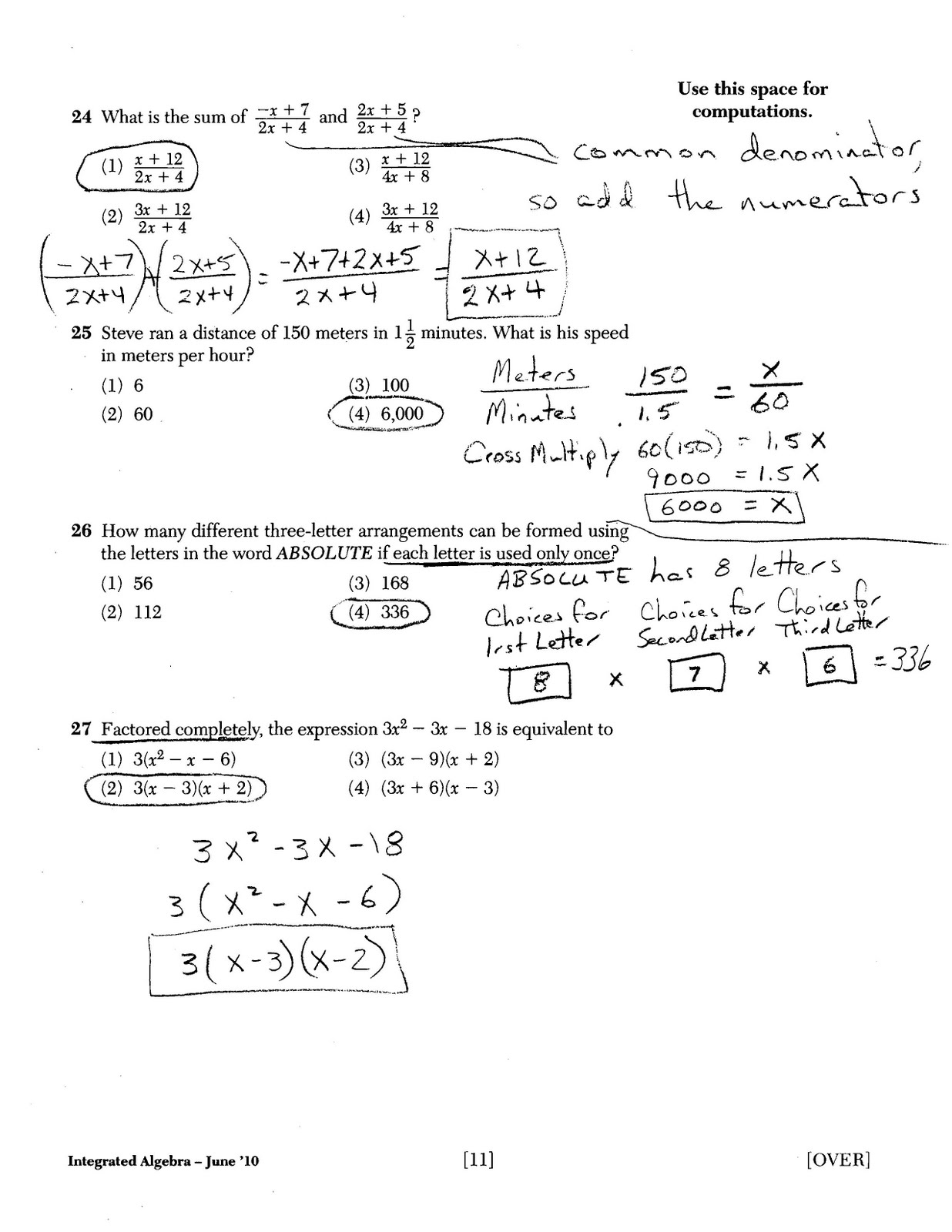 Mr Napoli S Algebra Aim Midterm Review Answer Key