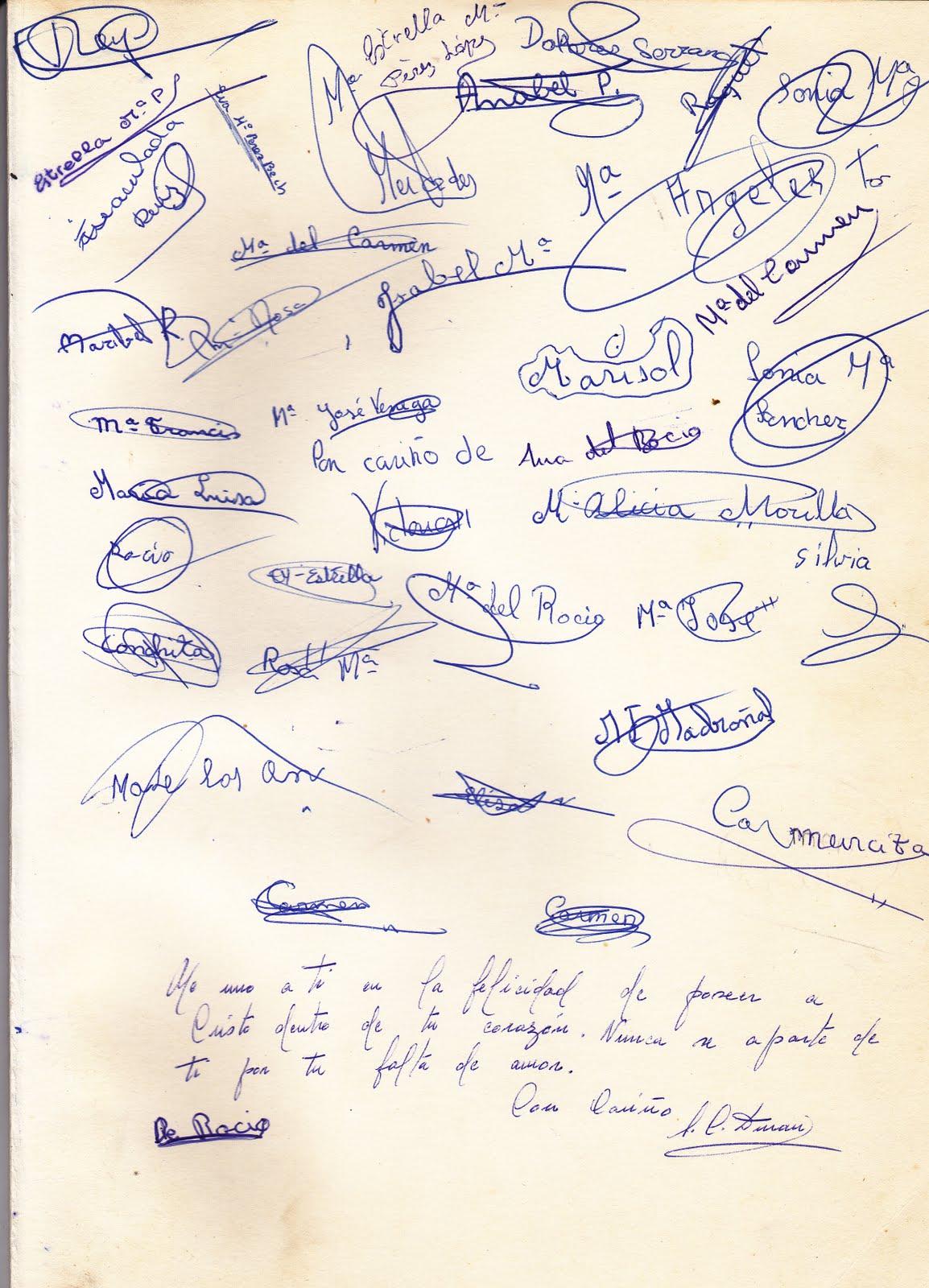 REENCUENTRO DE LAS SALESIANAS DE NERVION DEL 68: Firmas en