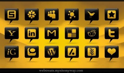 Glossy Black Comment Bubble Social Icons