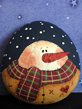 Snowman, painted stone