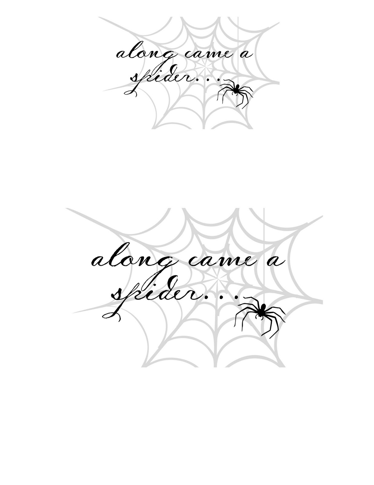 Along Came A Spider Printable