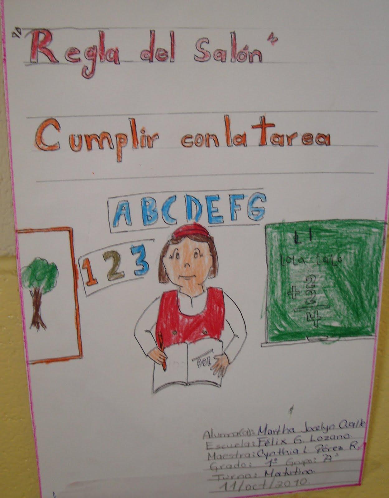 Esc prim f lix g lozano t m carteles de primer grado for 10 reglas del salon de clases en ingles