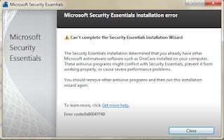 0x8004FF40 - 0x8004FF40 in Microsoft Security Essentials beta