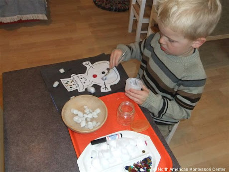NAMC montessori activities holiday winter sandpaper decorate a snowman