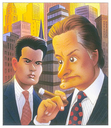 CHARLIE SHEEN AND MICHAEL DOUGLAS IN WALL STREET I