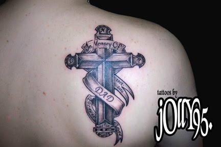 in memory cross tattoos for men - photo #14