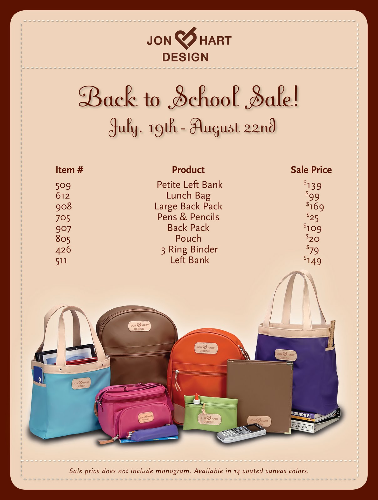 Jon Hart Obsession With The Back To School We Have A Great Selection Of Samples In So You Can See Quality This Usa Made Product